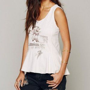 Free People (We the Free) Graphic Peplum Tank